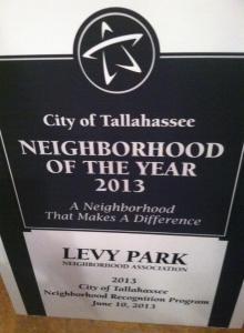 Levy Park, Neighborhood of the Year!